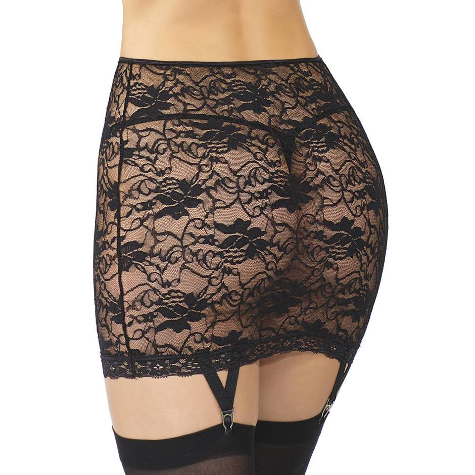 Coquette Plus Size Stretch Lace Skirt With Suspenders