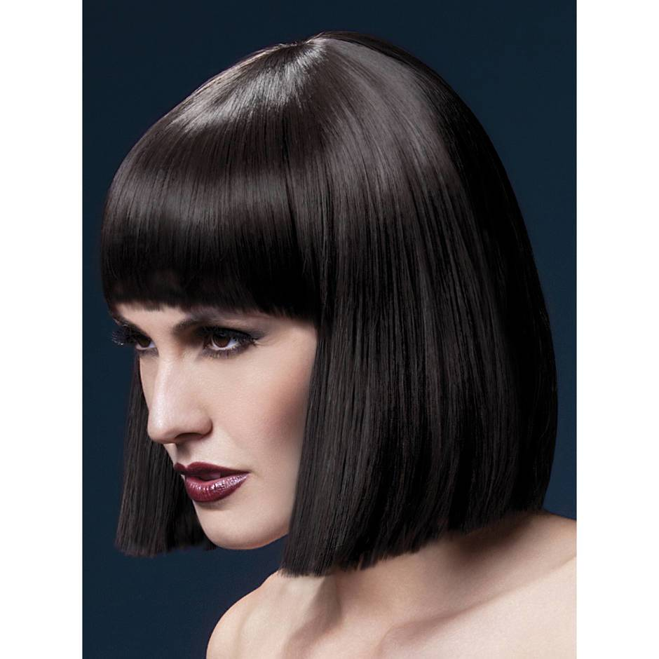 Fever Lola Short Brown Blunt Cut Bob Wig with Fringe