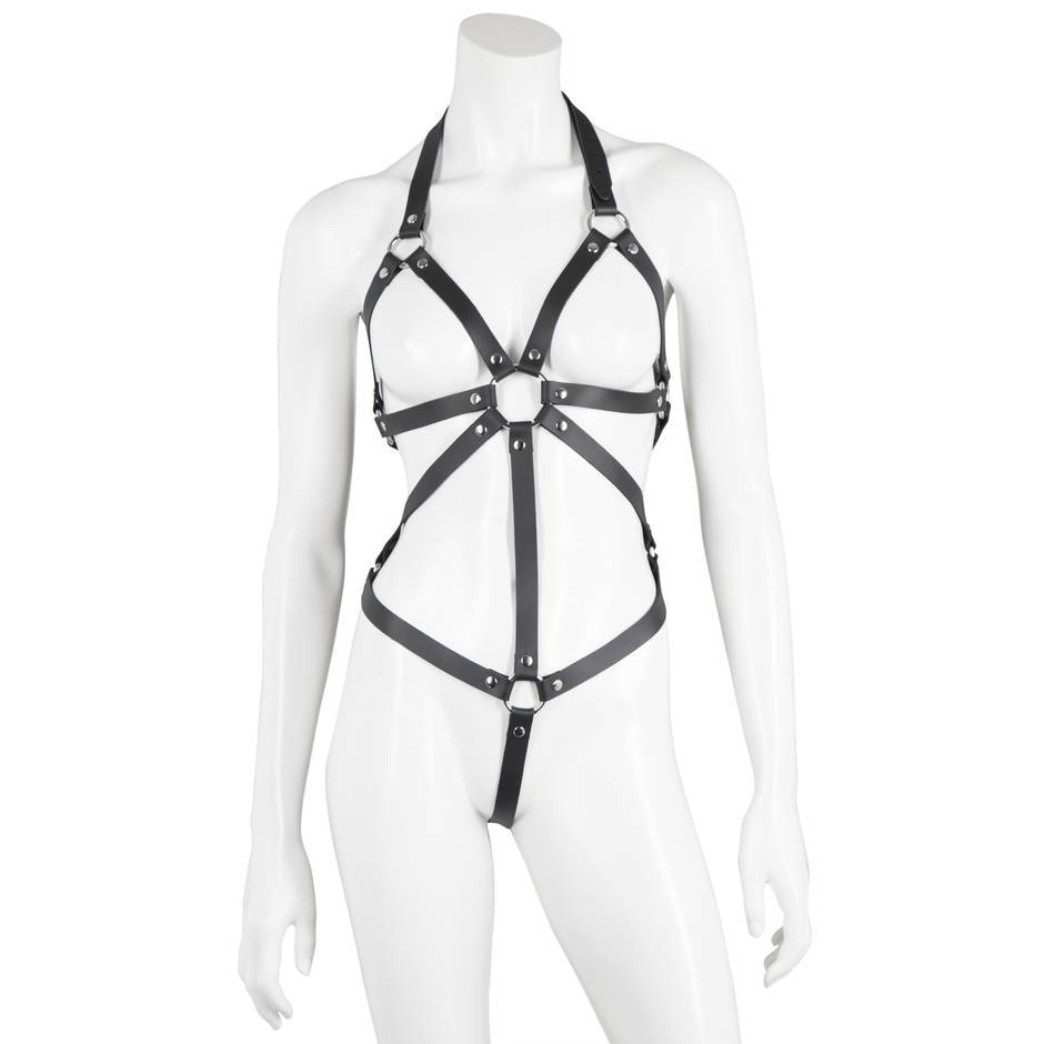 DOMINIX Deluxe Open Breast Leather Body Harness