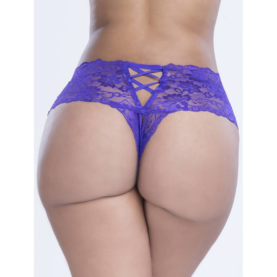 Oh La La Cheri Curves Plus Size Purple Floral Lace Crotchless French Knickers