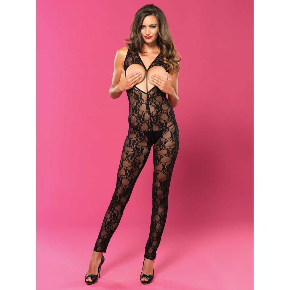 Leg Avenue Sweetheart Black Lace Crotchless Bodystocking