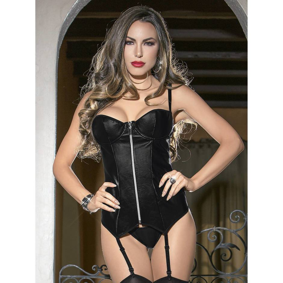 Wet Look Zip Up Bustier Set