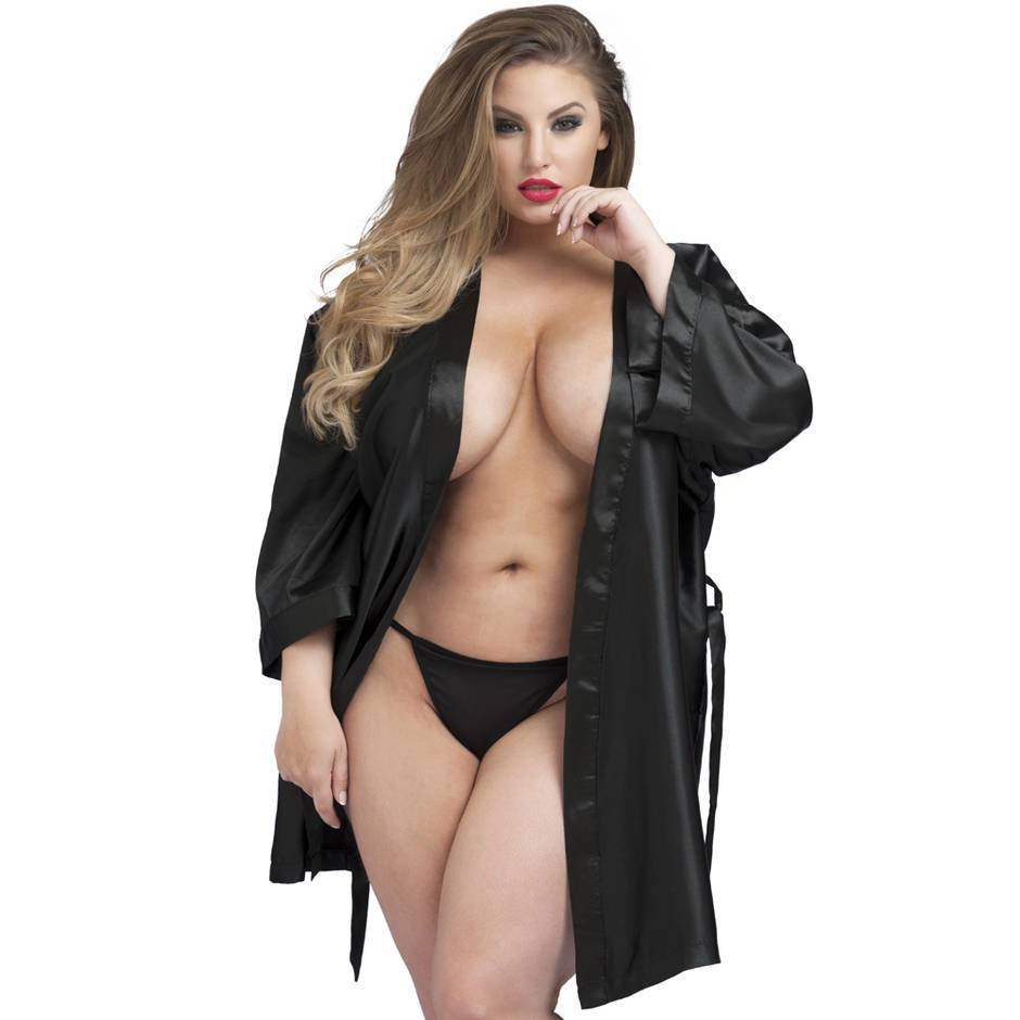 Lovehoney Plus Size Short Black Satin Robe