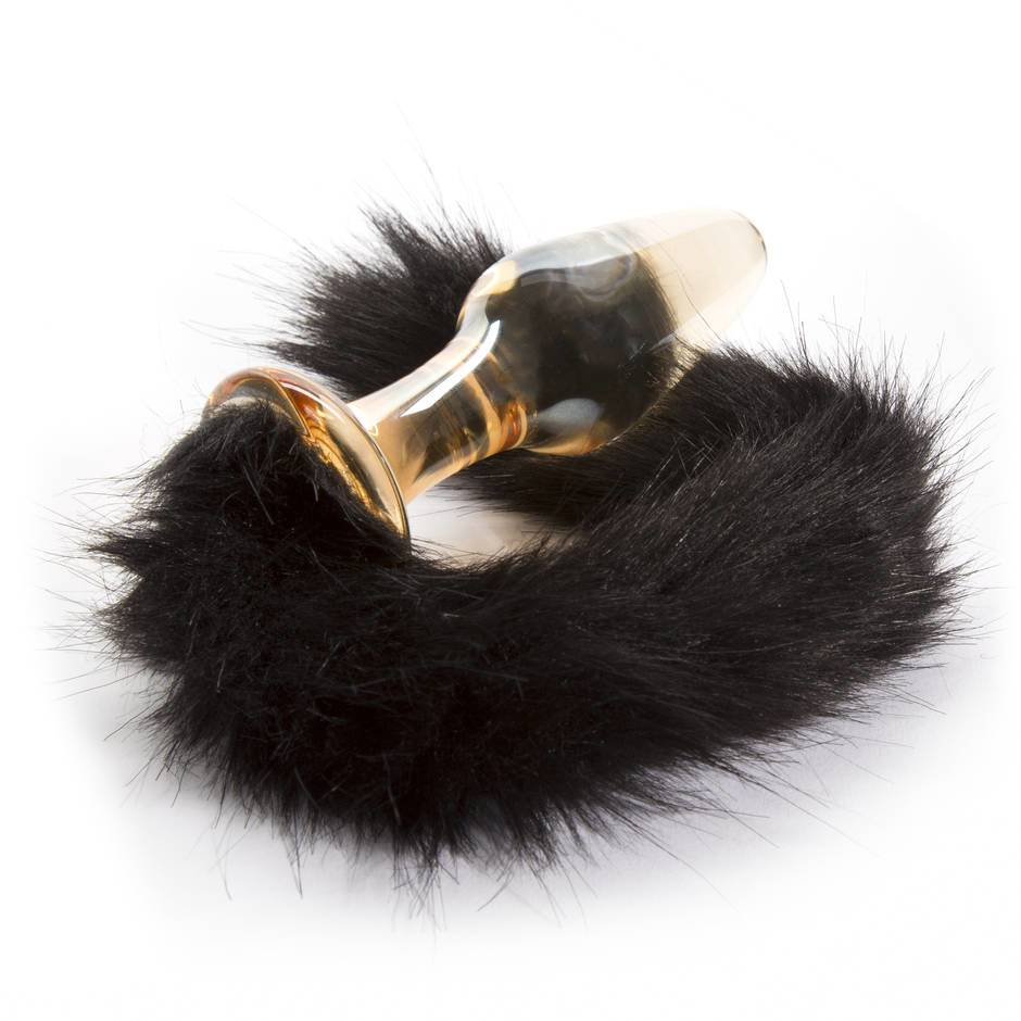 Glass Butt Plug with Faux Fur Tail