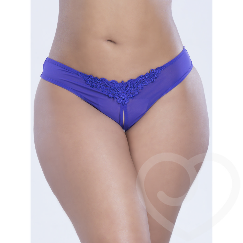 Oh La La Cheri Curves Plus Size Crotchless Thong with Pearls Purple