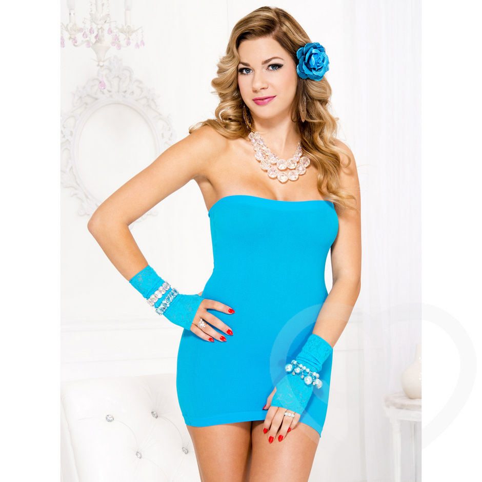 Music Legs Turquoise Opaque Tube Dress