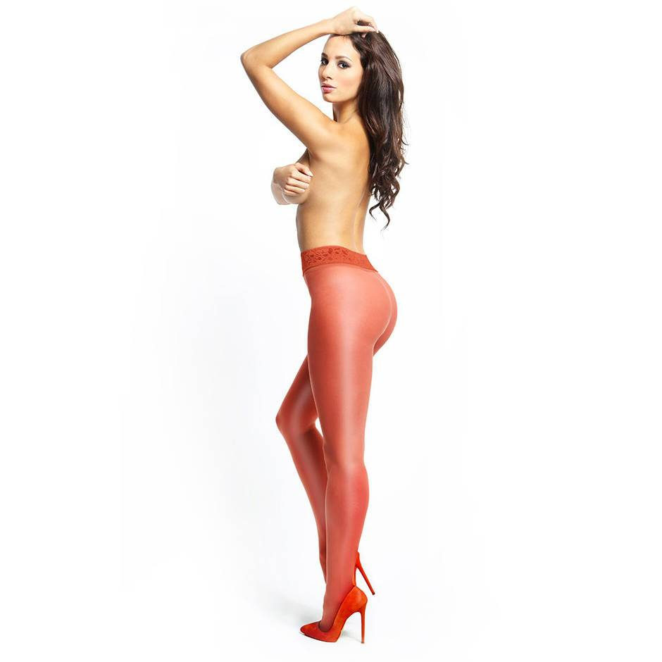 missO 20 Denier Red Crotchless Tights with Lace Top