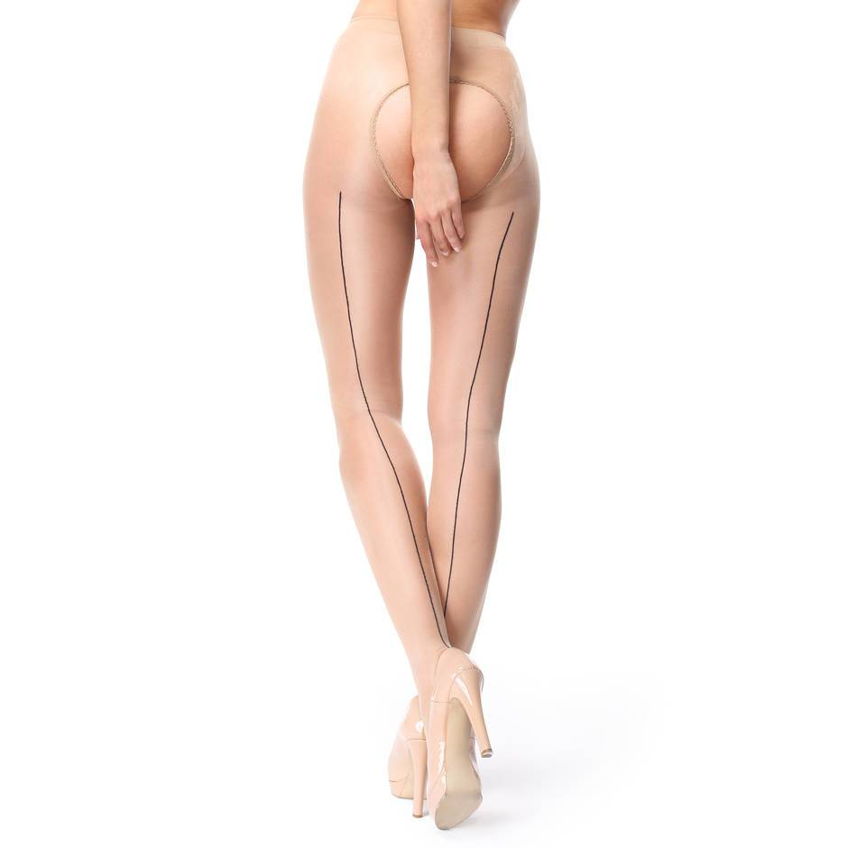 missO 20 Denier Nude Crotchless Tights with Backseam