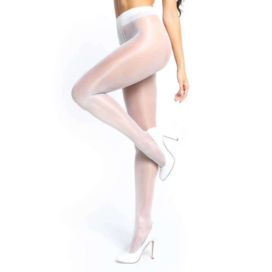 missO 20 Denier White Crotchless Tights