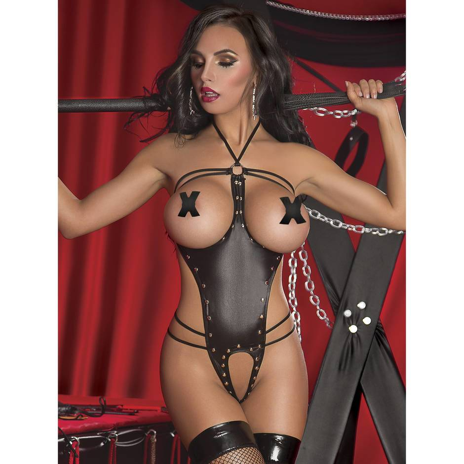 Exposed Lust Studded Wet Look Open Cup Crotchless Teddy