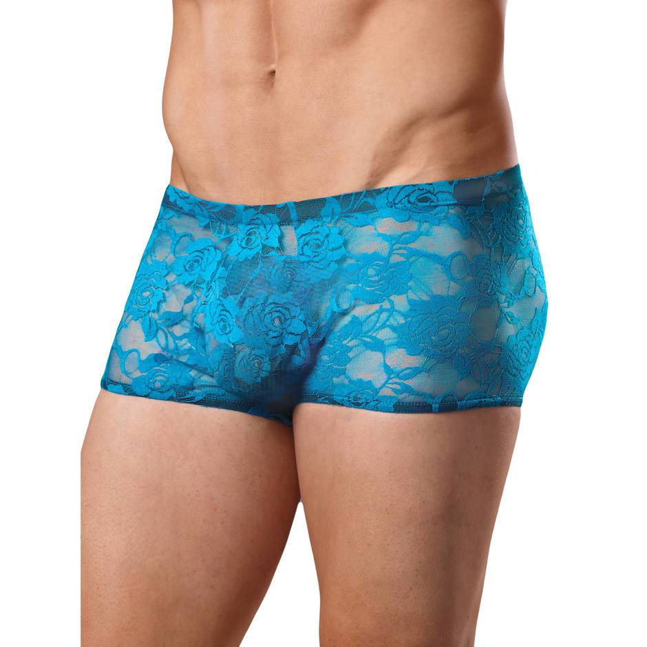 Male Power Neon Blue Lace Boxer Shorts