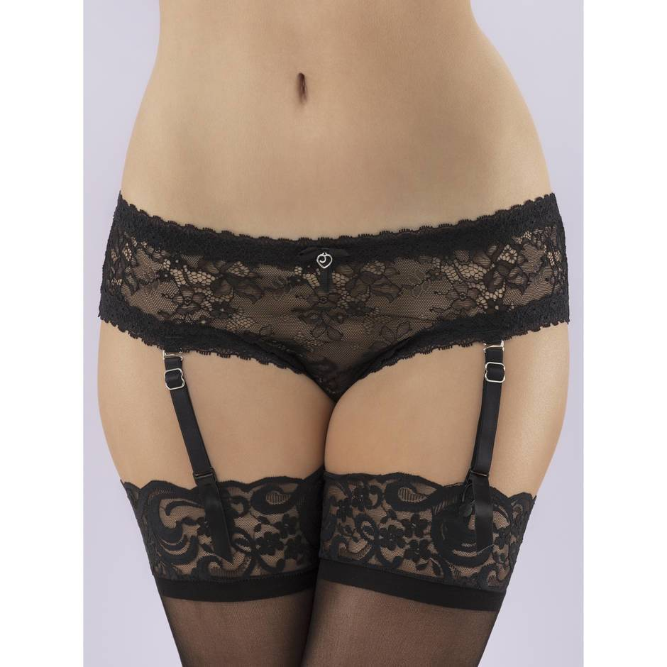 Lovehoney Plus Size Flaunt Me Floral Lace Crotchless Suspender Panties