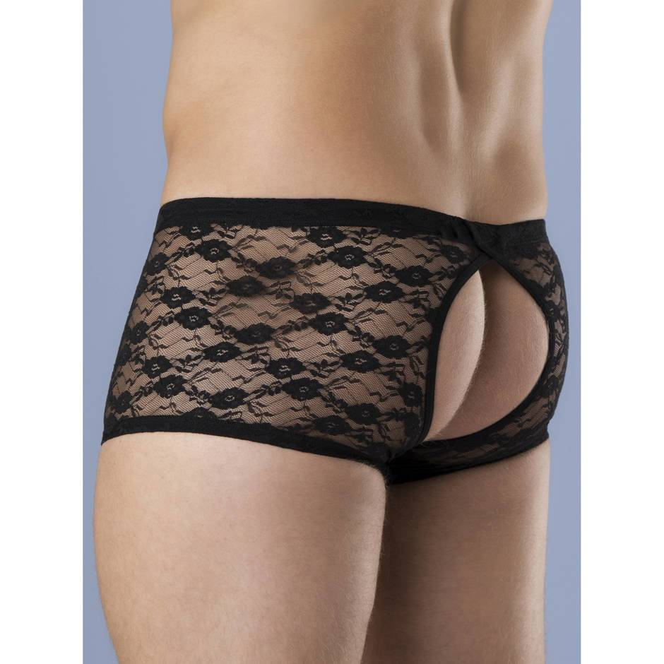 LHM All Over Lace Open Front & Back Boxer Shorts