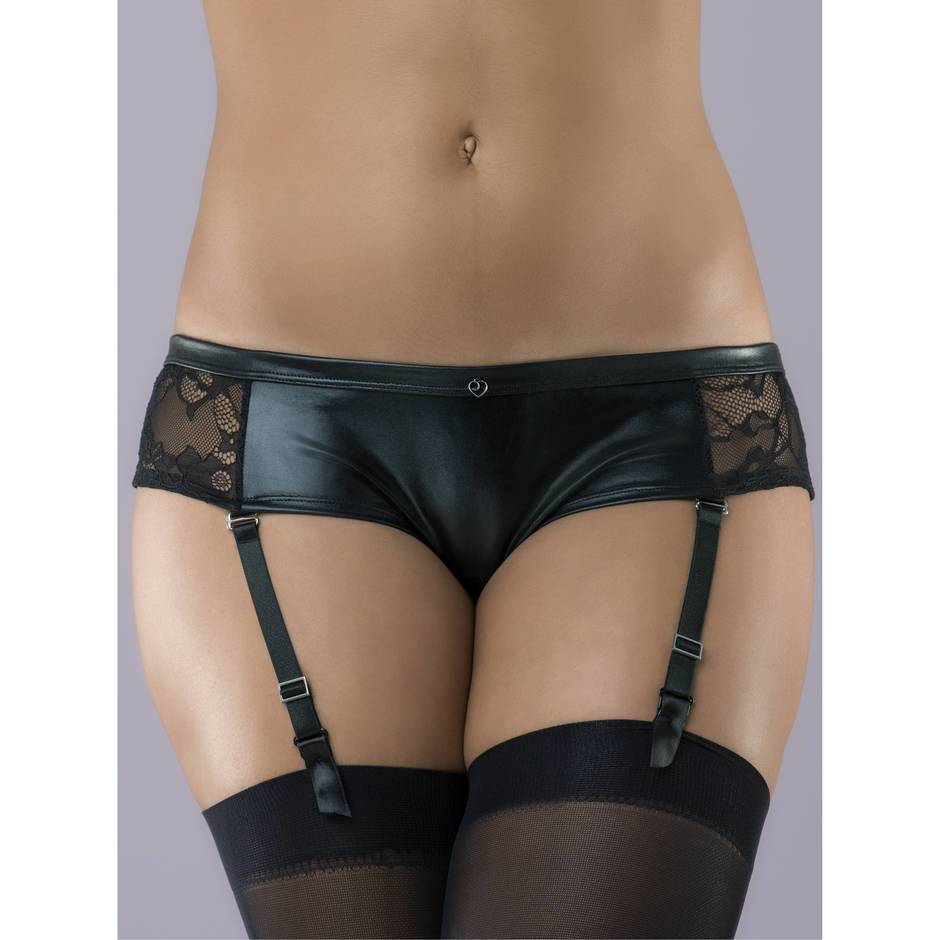 Lovehoney Wet Look & Lace Crotchless Garter Panty