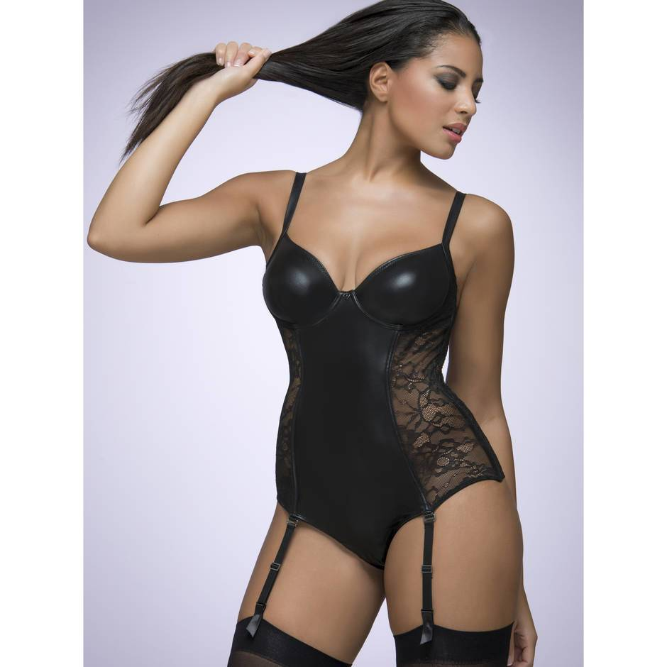 Lovehoney Wet Look & Lace Crotchless Underwired Black Body