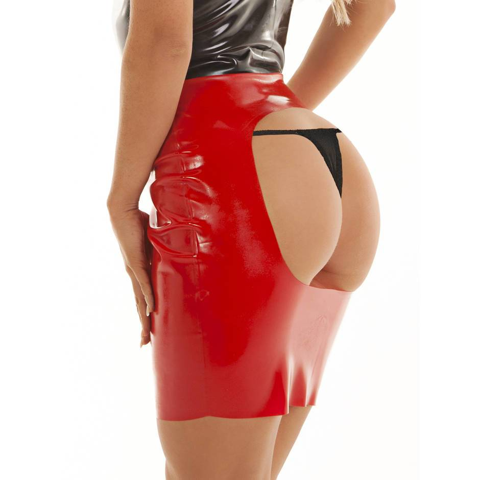 Rubber Girl Latex Wear Rubber Spanking Skirt Red