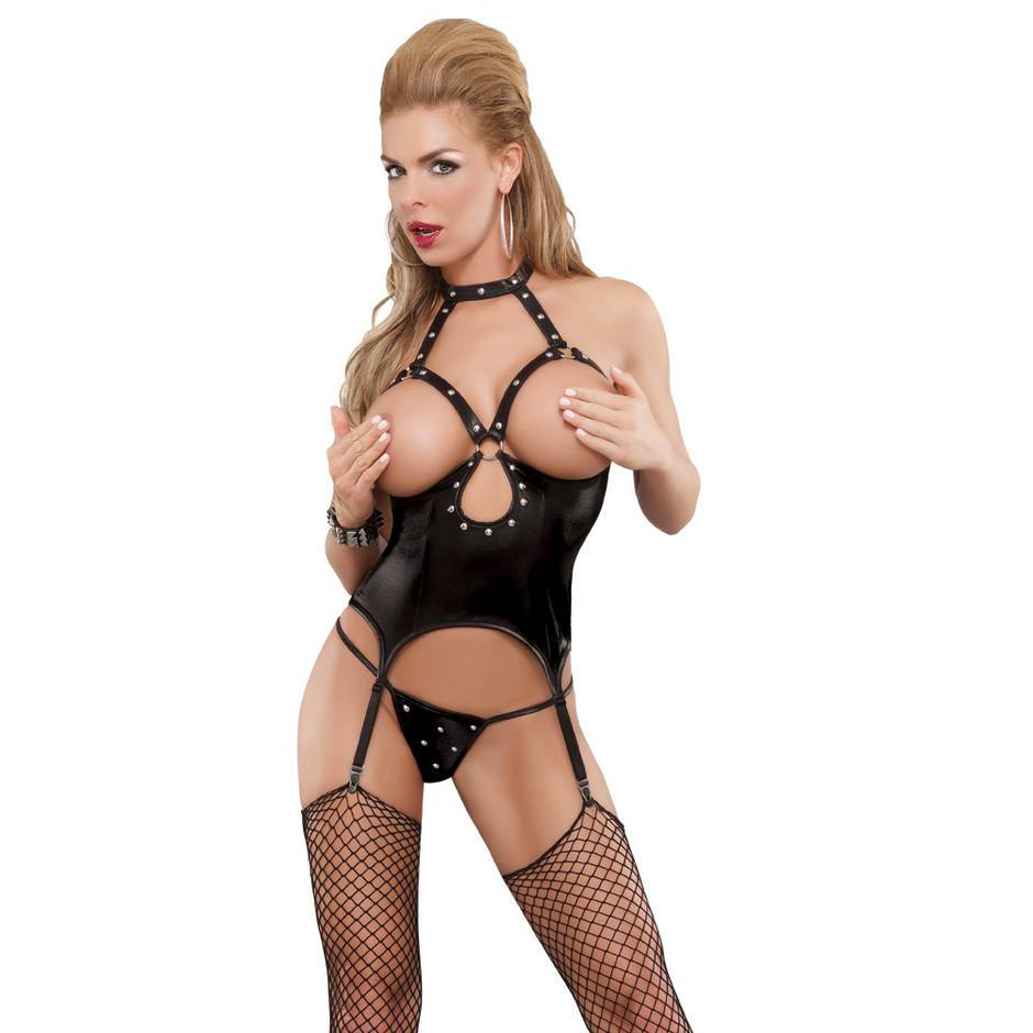 Exposed Lust Wet Look Open Cup Basque Set