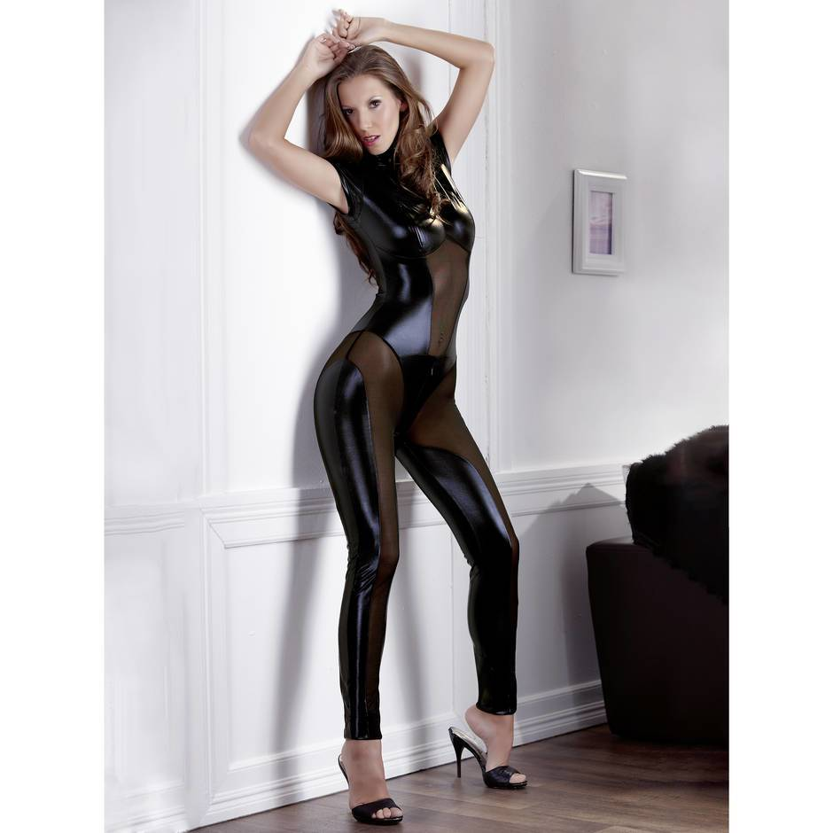 Cottelli Collection Wet Look Catsuit with Concealed Zips