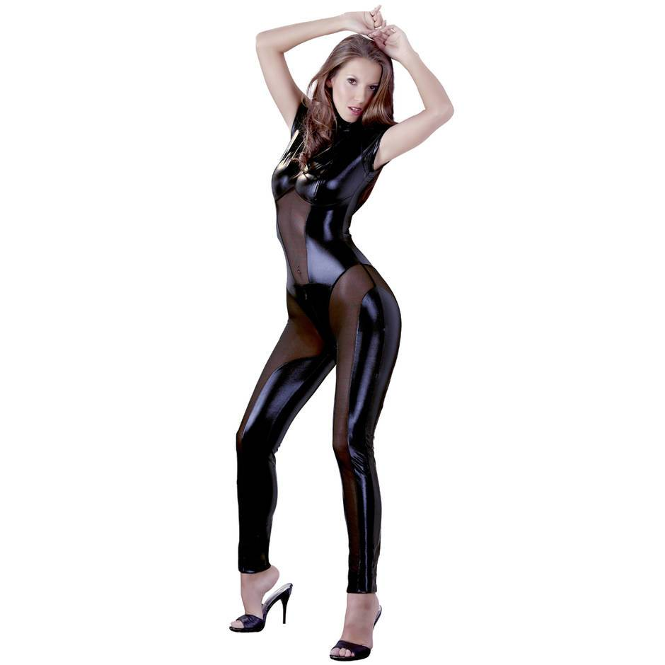 Cottelli Wet Look Catsuit with Concealed Zips