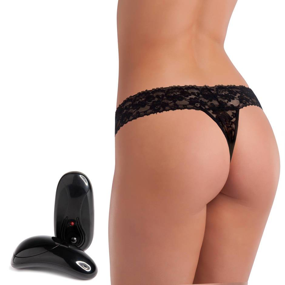 Secrets 5 Function Remote Control Vibrating Black Lace Thong