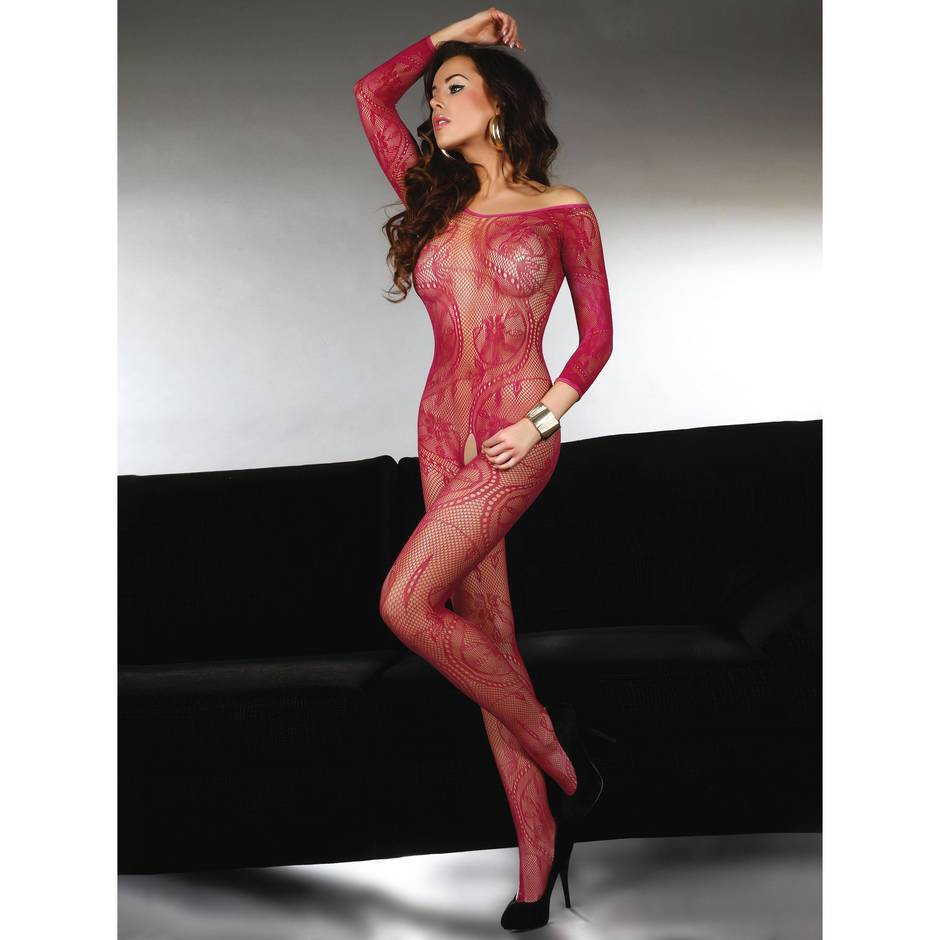 Livia Corsetti Abra Raspberry Long Sleeve Crotchless Lace Bodystocking