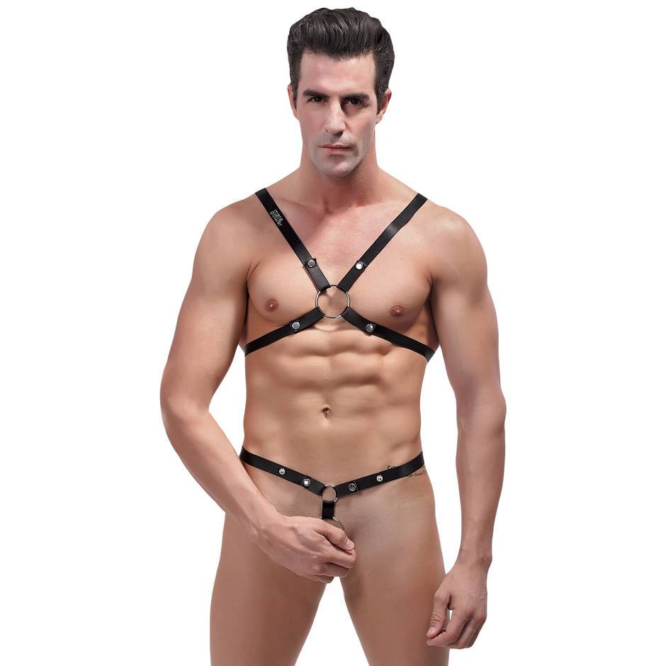 Male Power Shoulder Harness with C-Ring Waist Band Black