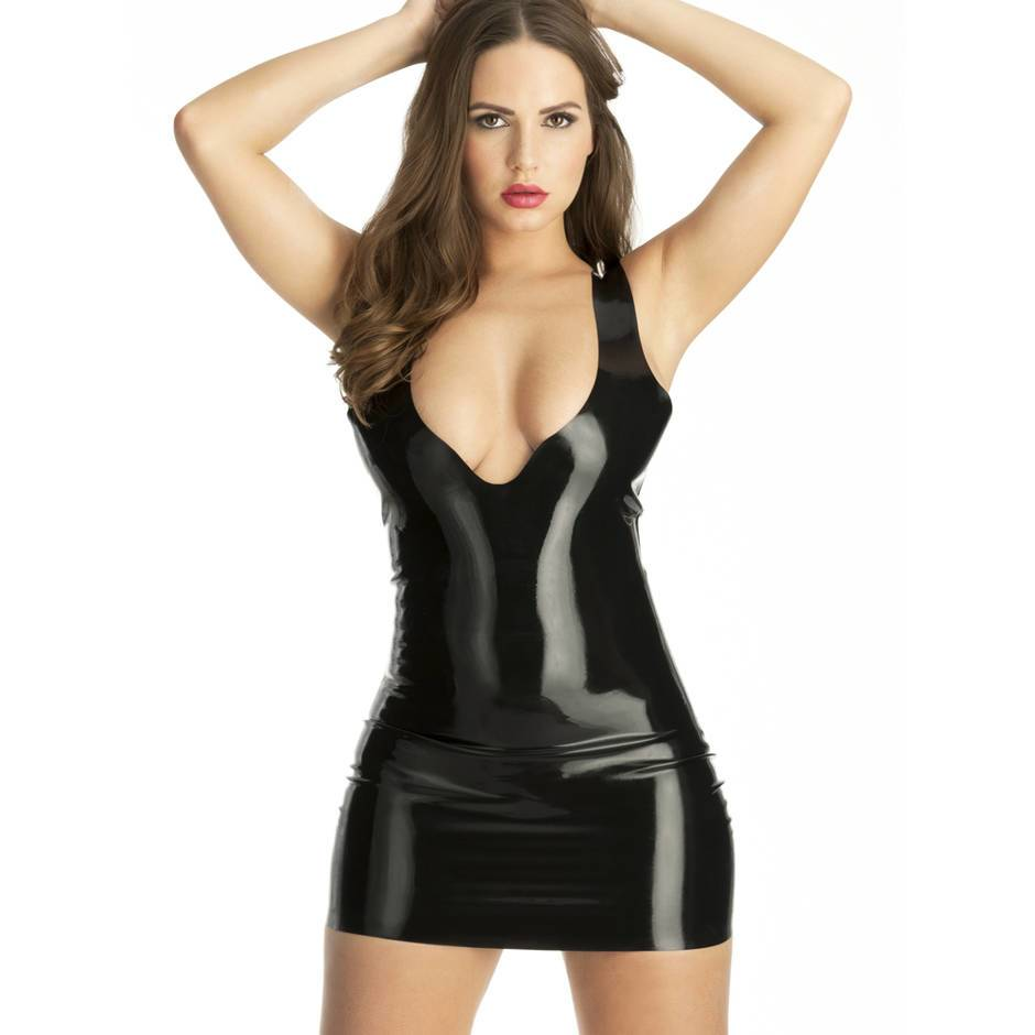 Rubber Girl Latex Plunge Mini Dress