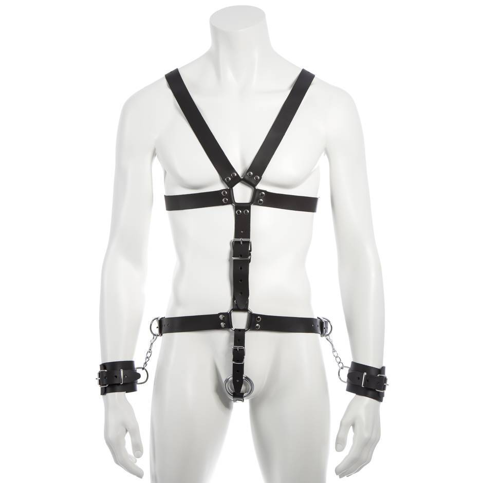 DOMINIX Deluxe Leather Body Harness with Cock Ring and Wrist Cuffs
