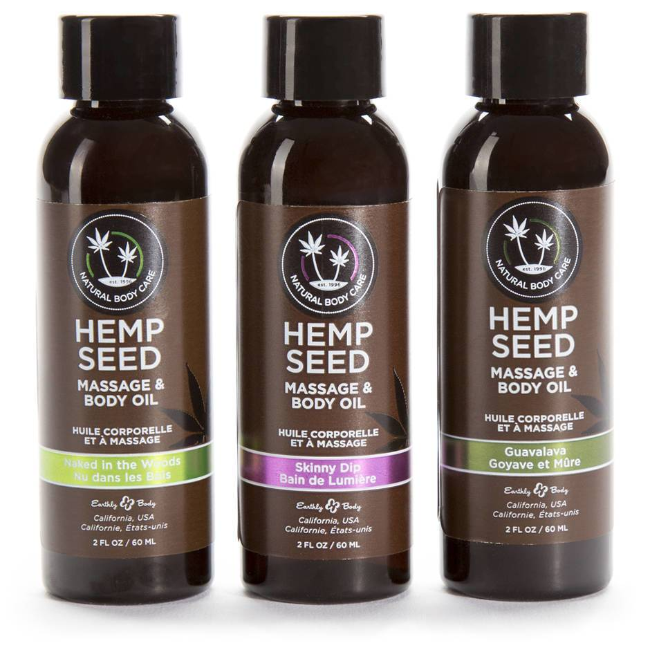 Earthly Body Hemp Seed Massage Oil Gift Set (3 x 1 fl. oz)