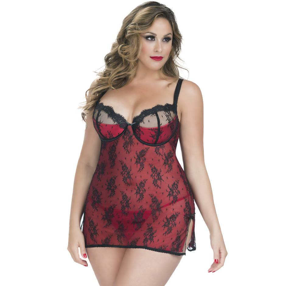 Oh La La Cheri Curves Plus Size Satin and Lace Underwired Babydoll