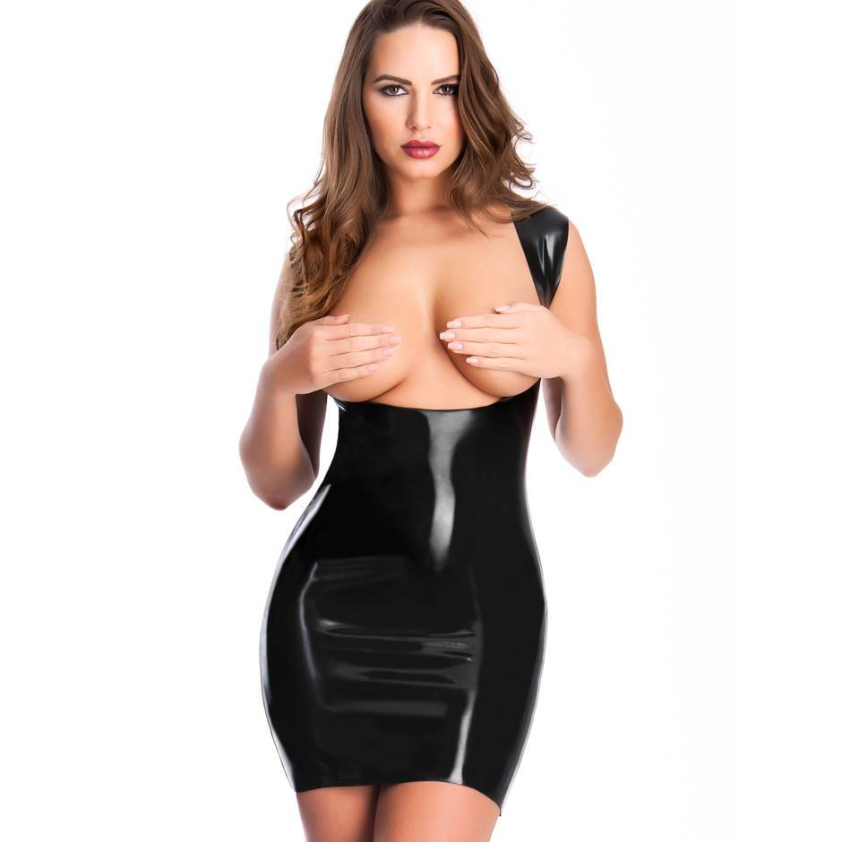 Easy-On Black Latex Underbust Spanking Dress