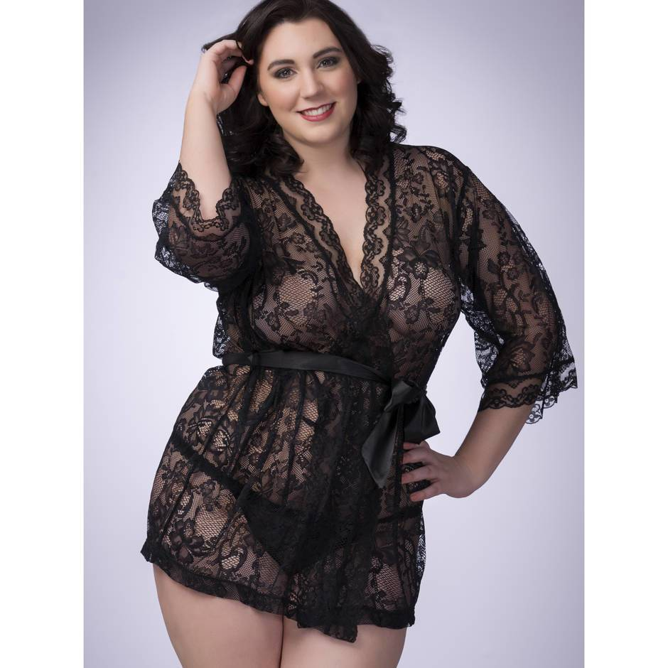Lovehoney Plus Size Flaunt Me Black Lace Robe