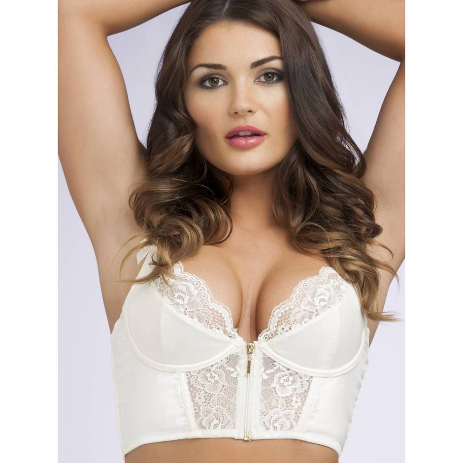 Lovehoney Cherish Me Satin & Lace Underwired Longline Bra