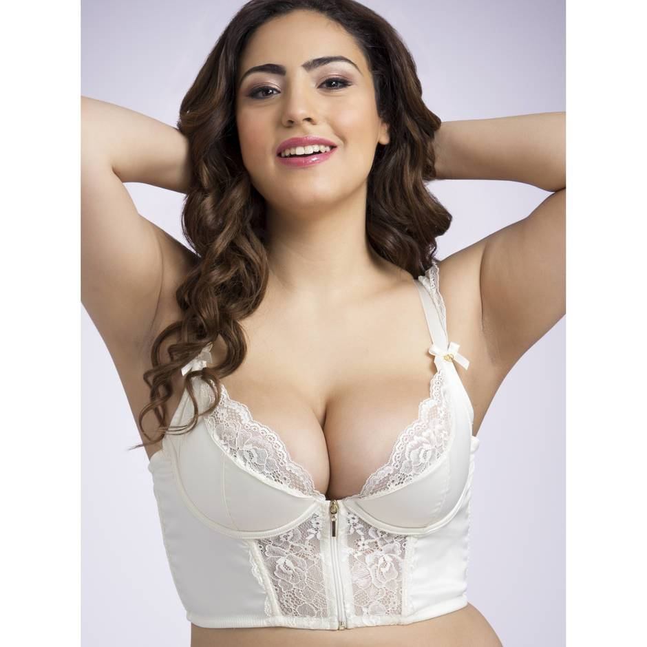 Lovehoney Plus Size Cherish Me Satin & Lace Underwired Longline Bra