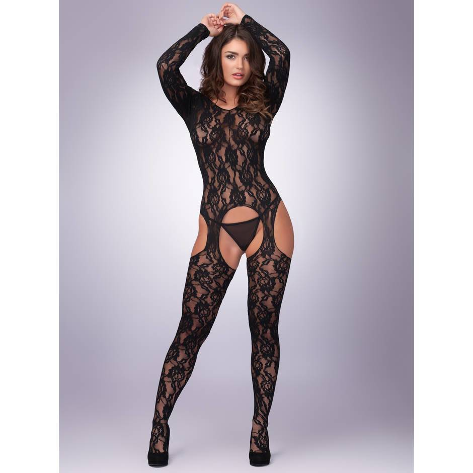 Lovehoney Long Sleeve Lace Suspender Bodystocking