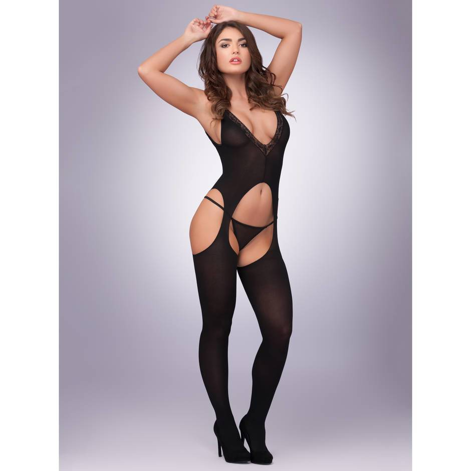 Lovehoney Opaque Deep-V Front Crotchless Bodystocking