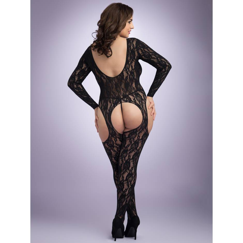 Lovehoney Plus Size Long Sleeve Lace Suspender Bodystocking