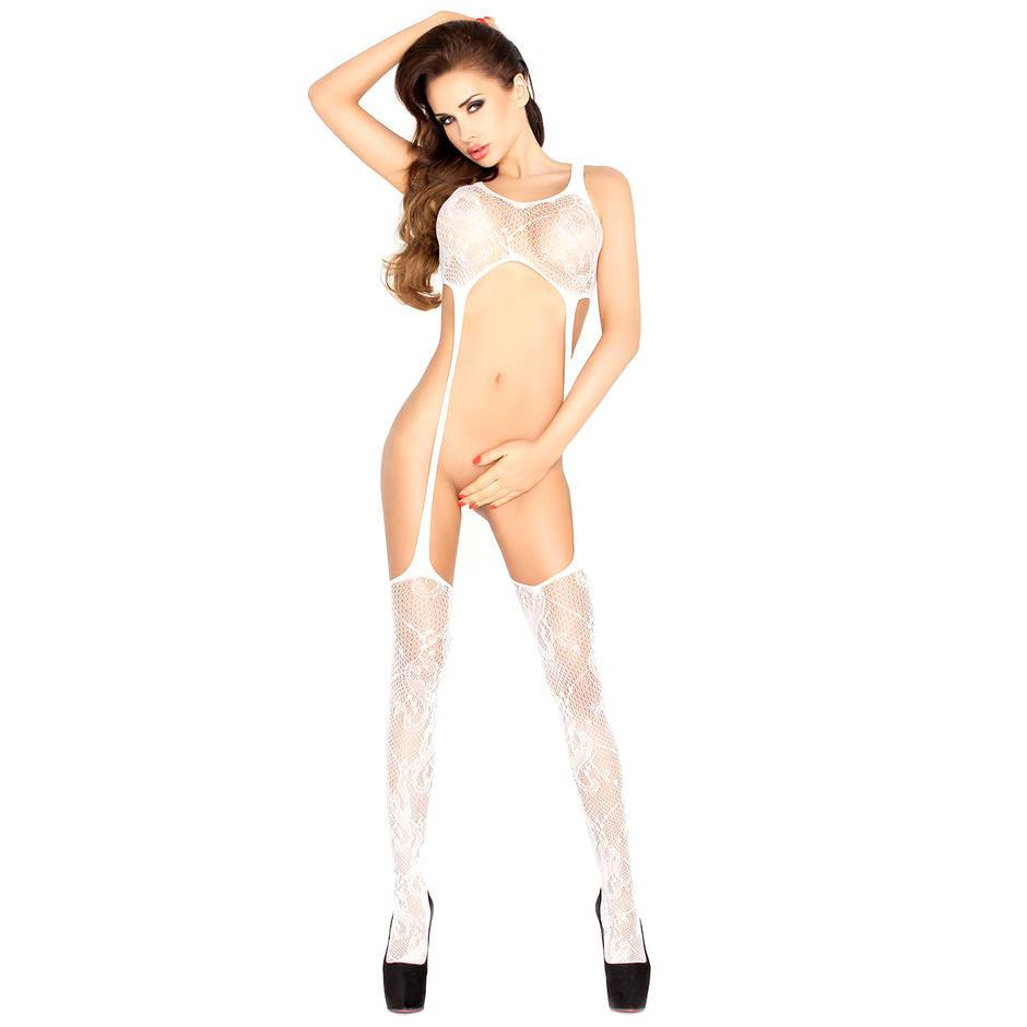 Passion White Stretch Fishnet Open Front Crotchless Bodystocking