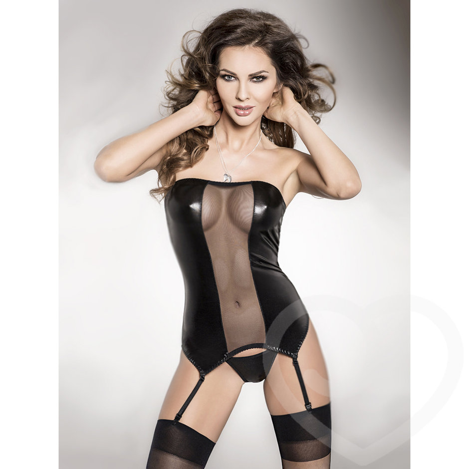 Passion Wet Look and Sheer Mesh Strapless Bustier