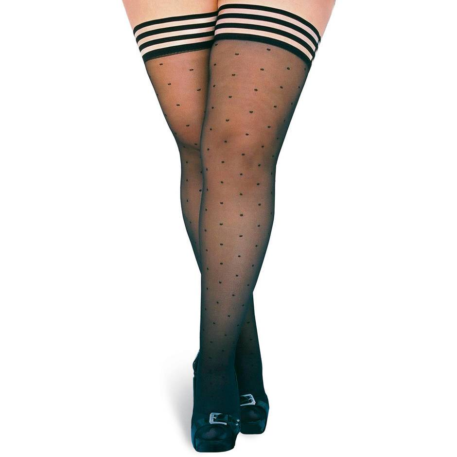 Kix'ies Thigh Highs Plus Size Polka Dot Hold Ups