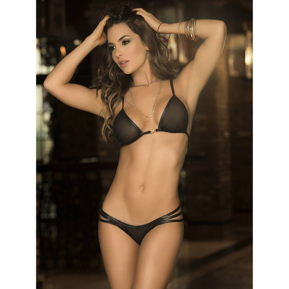 Mapale Wet Look and Sheer Strappy Bra Set