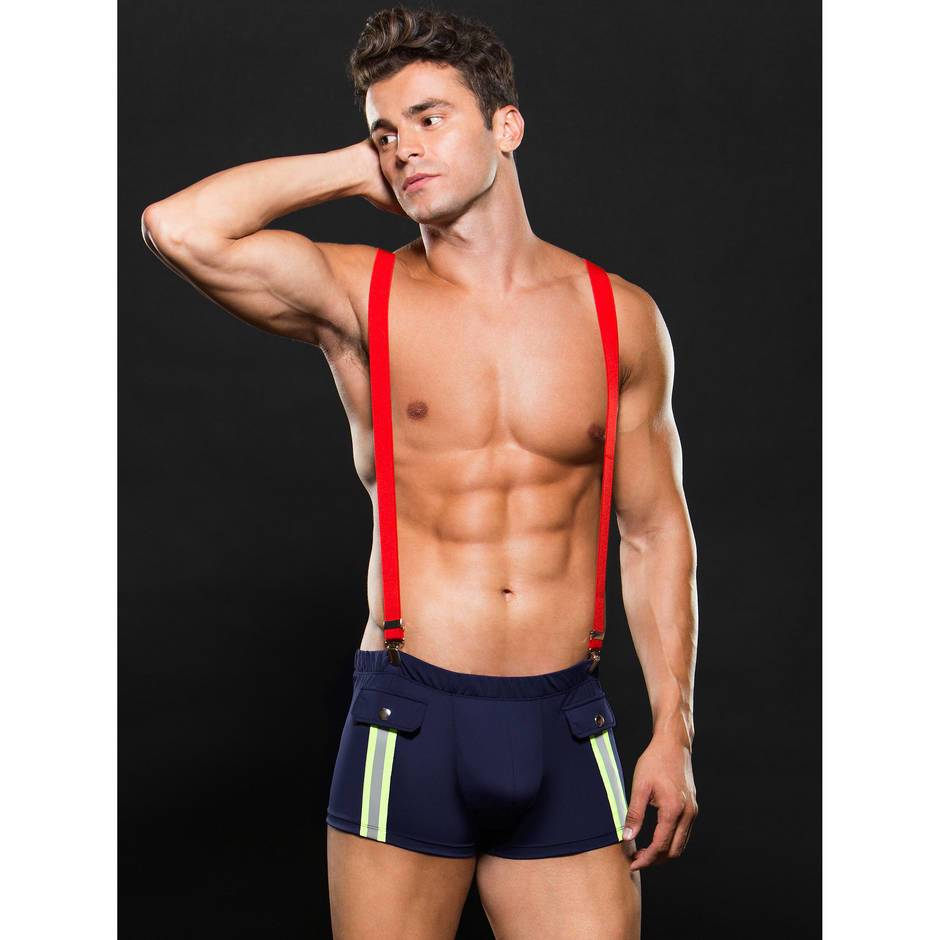 Sexy Fireman Trunks & Braces Set