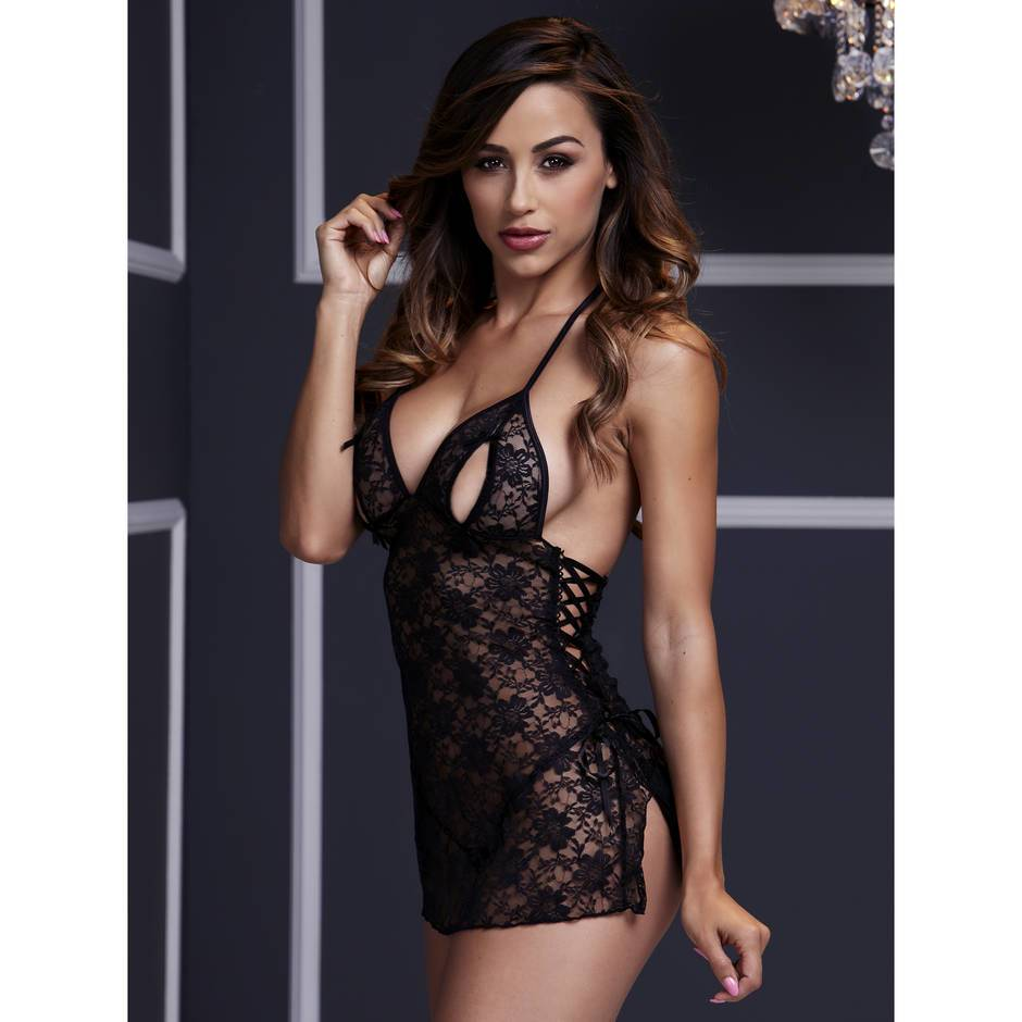 Lace Up Peek-a-Boo Babydoll