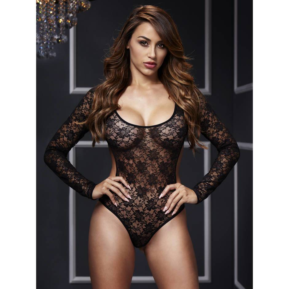 Baci Lingerie Open Back Long Sleeve Lace Teddy
