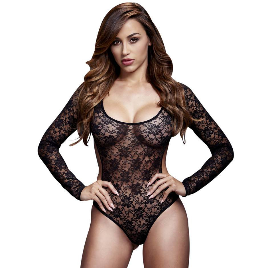 Baci Lingerie Open Back Crotchless Long Sleeve Lace Teddy