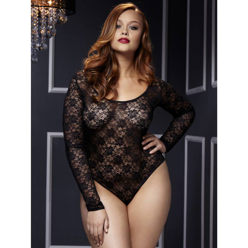 Baci Lingerie Plus Size Open Back Long Sleeve Lace Body