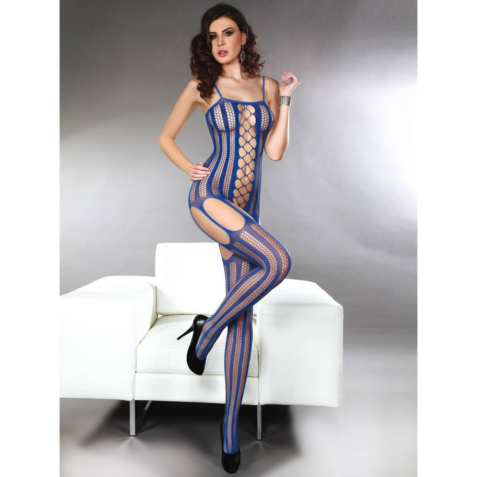 Livia Corsetti Almas Blue Stripe Fishnet Crotchless Bodystocking