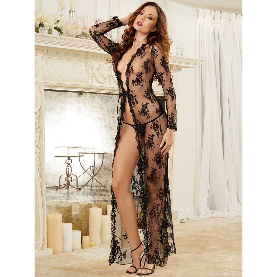 Dreamgirl Sheer Floral Lace Long Robe