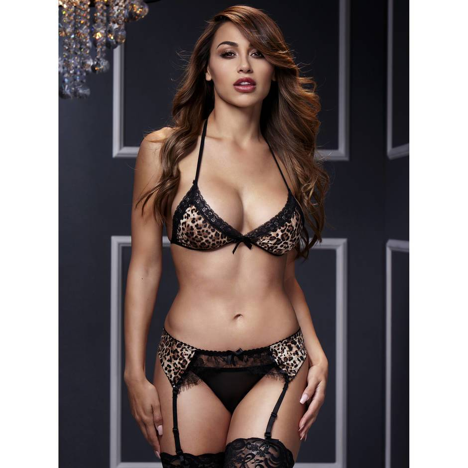 Baci Lingerie Leopard Print and Lace Bra Set