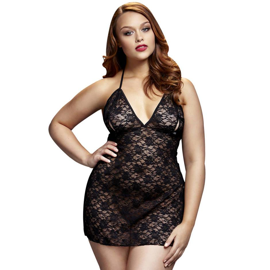 Baci Lingerie Plus Size Lace Babydoll with Peek-a-Boo Cups
